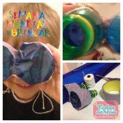 Com 2 garrafinhas PET, barbante, fita adesiva e celofane, fizemos um binóculos com lentes azuis!