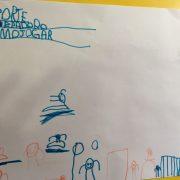 O filho, ansioso para voltar a praticar exercícios, fez esse desenho 1 dia antes de tirar o gesso