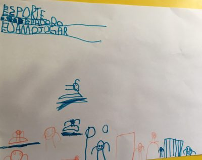 O filho, ansioso para voltar a praticar exercícios, fez esse desenho 1 dia antes de tirar o gesso <3