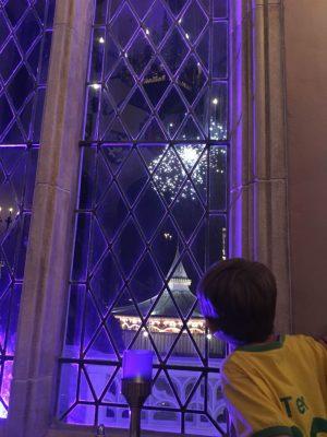 Golpe de sorte: no jantar no Cinderella's Royal Table pegamos uma mesa bem na janela e vimos o show de fogos!